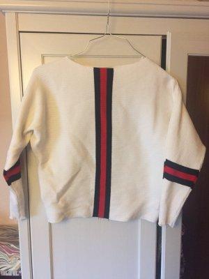 Cropped Pullover Dreiviertel arm weiß rot schwarz