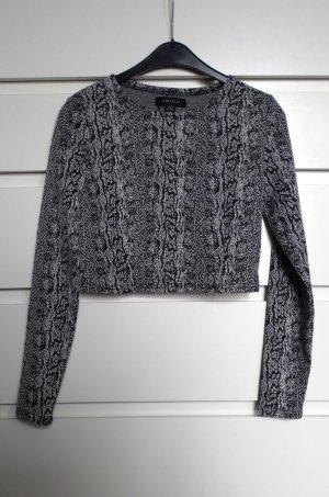 Cropped Pullover Kurzpullover mit Animalprint schwarz/weiß neu