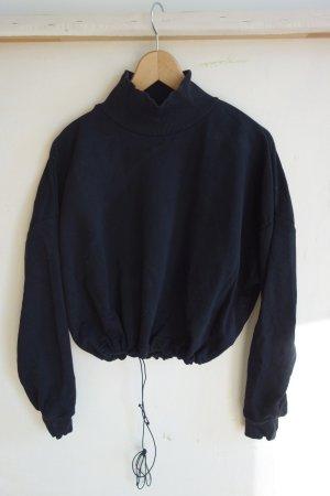 Cropped Pullover mit Stehkragen und Zuziehband am Bund