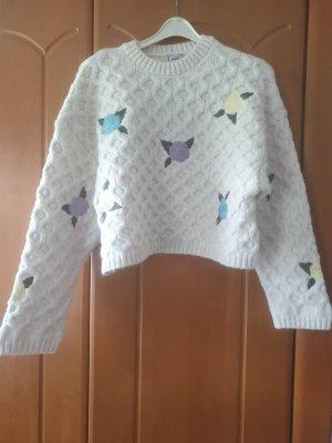 Cropped Pullover mit Stickerei