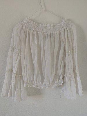 Cropped Rüschen Shirt
