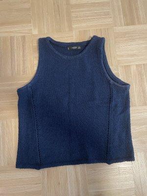 Mango Cropped Shirt blue-dark blue