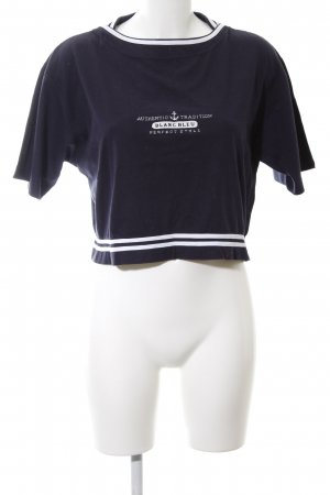 Cropped Shirt dunkelblau-wollweiß Casual-Look