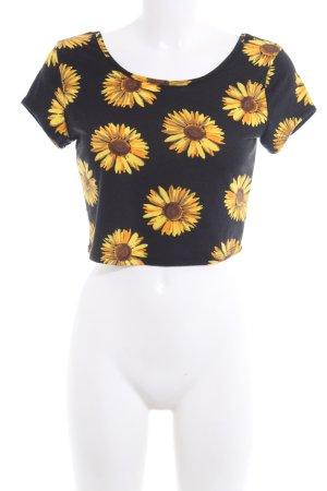Cropped Shirt schwarz-blassgelb Allover-Druck Casual-Look
