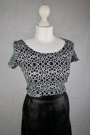 Monki Cropped shirt zwart-wit Katoen