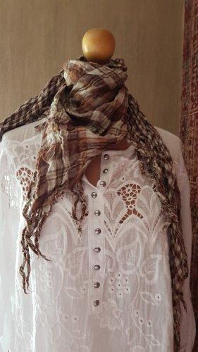 Made in Italy Bufanda de flecos blanco-marrón Algodón