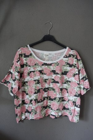 Cropped T-Shirt, gestreift, Rosen, Rosenprint, geblümt, Monki, Shirt, Top