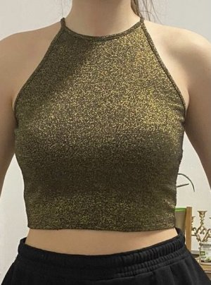 H&M Divided Cropped top goud-zwart