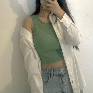 Top o skróconym kroju szaro-zielony-khaki