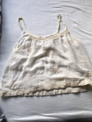 American Eagle Outfitters Cropped Shirt cream-gold-colored