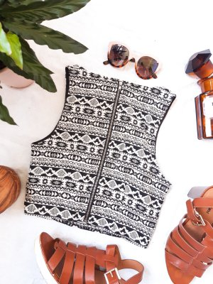 Cropped Top Ethno Muster Boho Hippie y2k