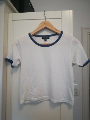 Topshop Cropped Shirt white-blue