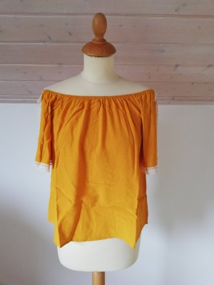 Cropped Top S XS neu Off Shoulder Coldshoulder Spitze gelb