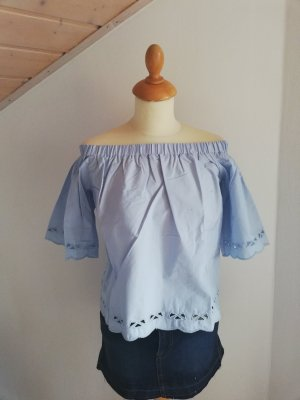 Cropped Top S XS Off Shoulder neu blau Lochstickerei Top