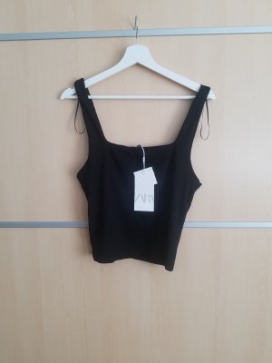 Zara Top recortado negro