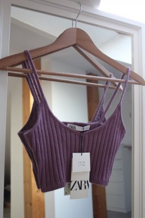 Zara Cropped Top brown violet-grey lilac