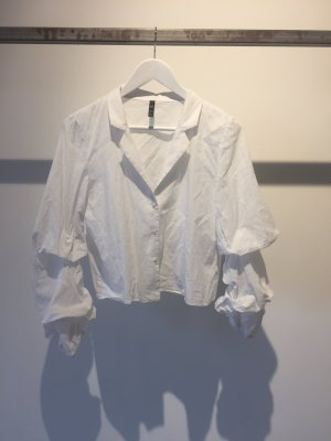 Cropped white Volants Bluse