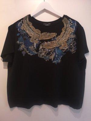 Cropped ZARA kurzarm Shirt mit Glitzer-Kroko/Blumen Print, Gr. L