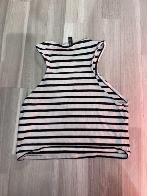 H&M Divided Top recortado negro-blanco