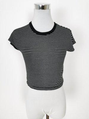 H&M Top recortado blanco-negro