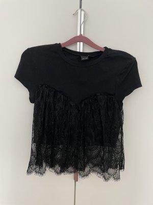 Lost Ink Cropped shirt zwart