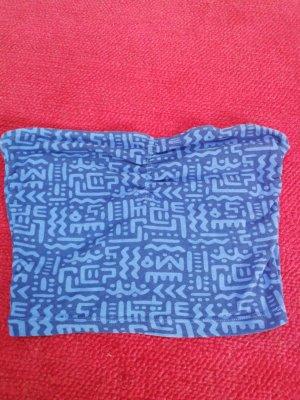 Garage Top z dekoltem typu bandeau niebieski-stalowy niebieski