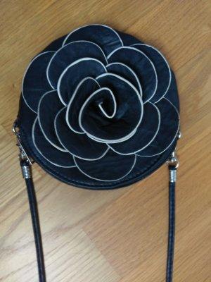 cross body Tasche schultertasche klein rund schwarz weiß Blume