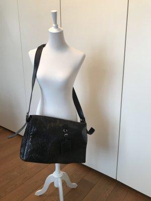 Hugo Boss Crossbody bag black-white leather