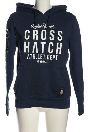 Cross Hatch Hooded Sweatshirt blue-white themed print casual look