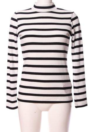 CROSS JEANS Prążkowana koszulka biały-czarny Wzór w paski W stylu casual