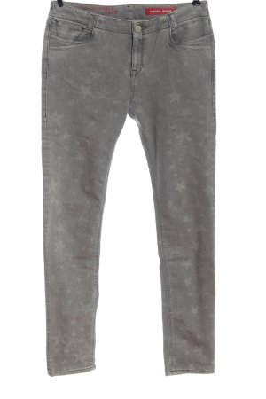 CROSS JEANS Slim Jeans hellgrau Motivdruck Casual-Look