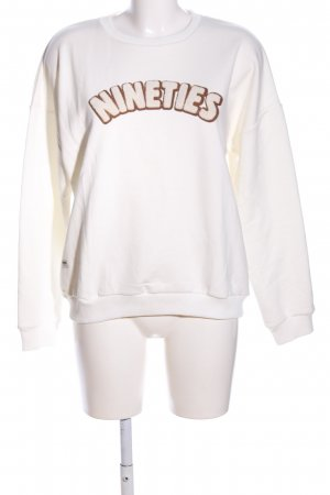 CROSS JEANS Sweat Shirt natural white-bronze-colored printed lettering