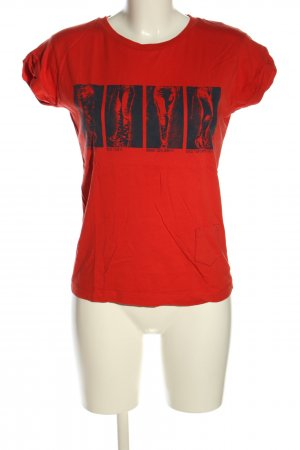 CROSS JEANS T-Shirt rot-schwarz Motivdruck Casual-Look