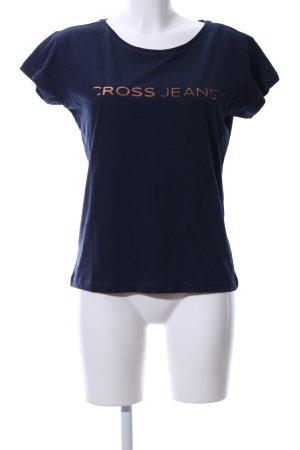 CROSS JEANS T-Shirt blau Schriftzug gedruckt Casual-Look