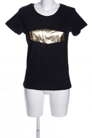 CROSS JEANS T-Shirt schwarz-goldfarben Casual-Look