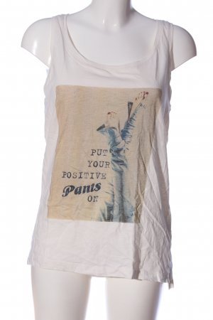 CROSS JEANS Strappy Top white themed print casual look
