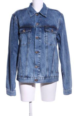 Cross Jeansjacke blau Motivdruck Casual-Look
