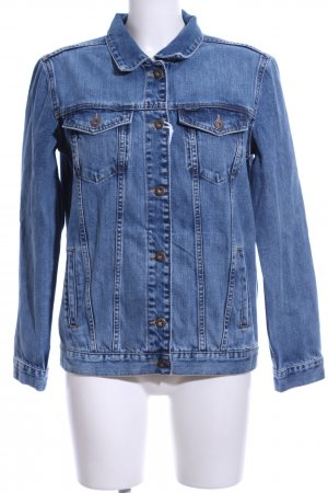 Cross Jeansjacke stahlblau Motivdruck Casual-Look