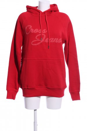 Cross Hooded Sweater red printed lettering casual look