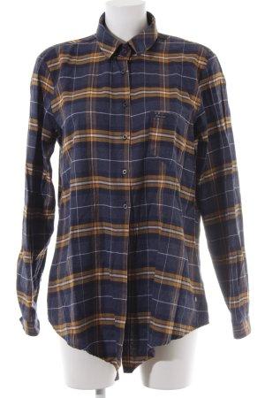 Cross Long Sleeve Shirt dark blue-light orange check pattern casual look