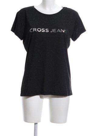 Cross T-Shirt schwarz-weiß Schriftzug gedruckt Casual-Look