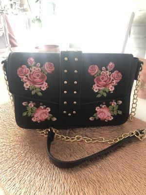 Crossbody Tasche mit Patches Umhängetasche Tasche neu Rosen schwarz Gold