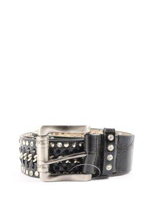 croute de cuir Cinturón de cadena negro-color plata brillante