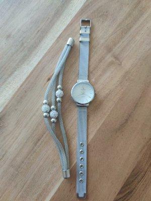 Crystal Blue Schmuckset Armbanduhr + Armband silber Quartz
