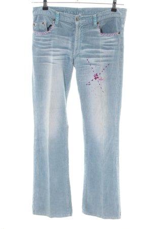 Pantalon en velours côtelé bleu style décontracté