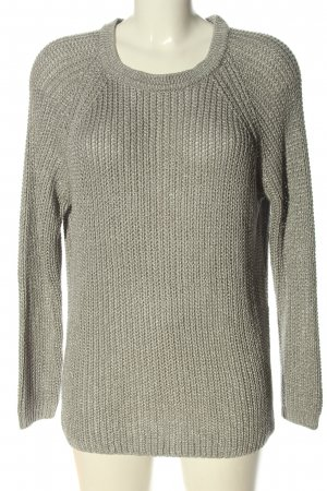 Cubus Coarse Knitted Sweater silver-colored cable stitch casual look