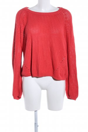 Cubus Strickpullover rot Zopfmuster Casual-Look