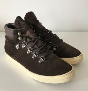 Cucamona Damen Sneaker Hi Top Leder 37 Braun Boots Schuhe Stiefelette Lederschuh