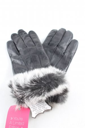 Leather Gloves black-white casual look