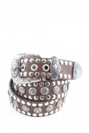 cuir veritable Studded Belt brown-silver-colored wet-look